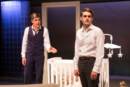 ©helenmurray l-r James Lance (Daniel) and Joshua Silver (Oliver) in Of Kith & Kin by Chris Thompson directed by Robert Hastie, Bush Theatre-1245